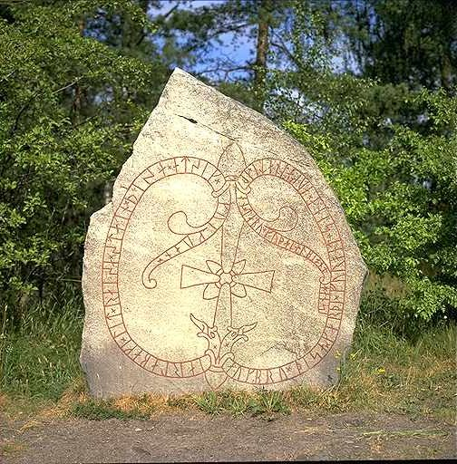 Viking symbols on a large rock slab