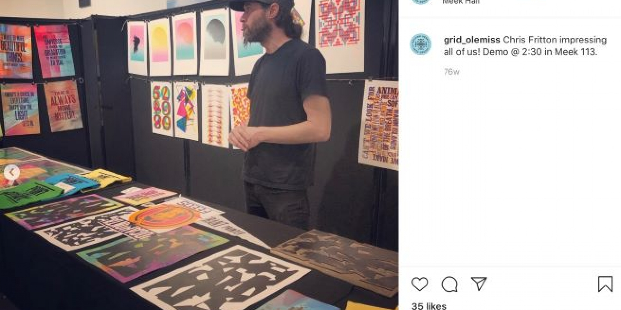 Grid Instagram post featuring Chris Fritton giving a demo of print pieces.