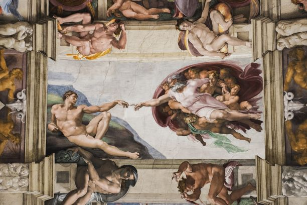 Sistine Chapel ceiling painting by Michaelangelo