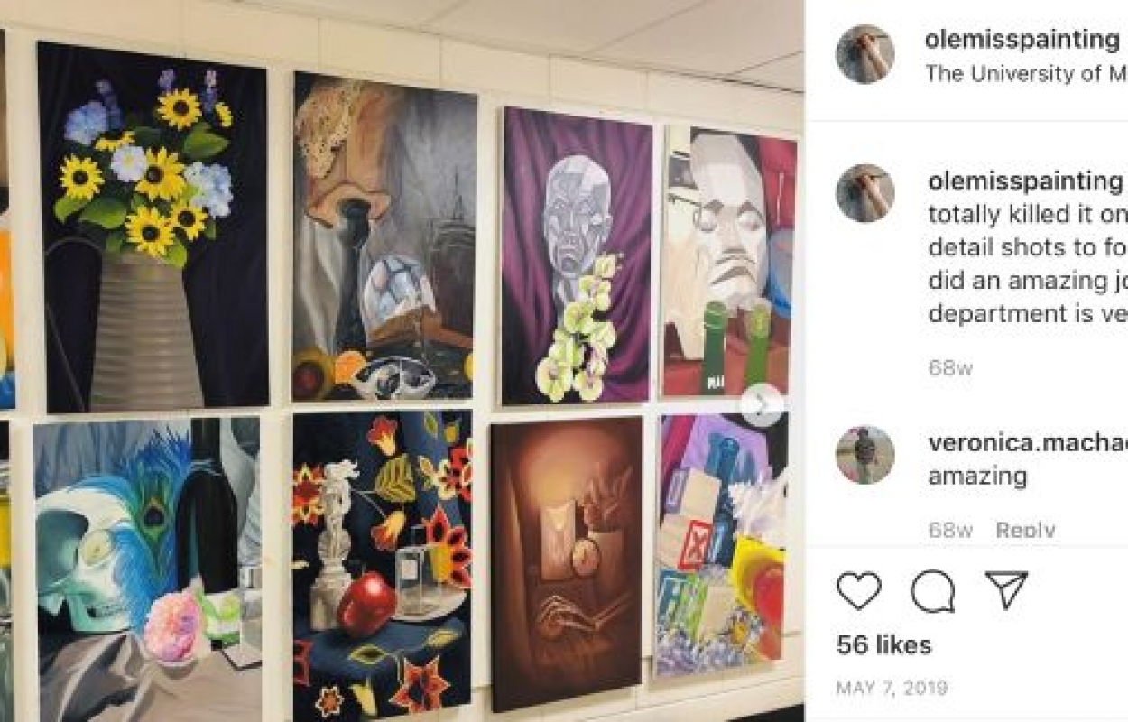 Painting Instagram post featuring the finals of beginning painting students.