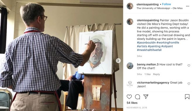 Painting Instagram post featuring painter Jason Bouldin doing a painting demo of a live model.