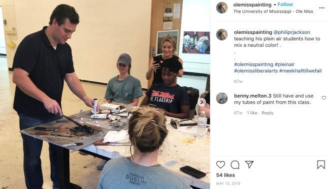 Painting Instagram post featuring a Professor teaching his plein air students how to mix a neutral color.