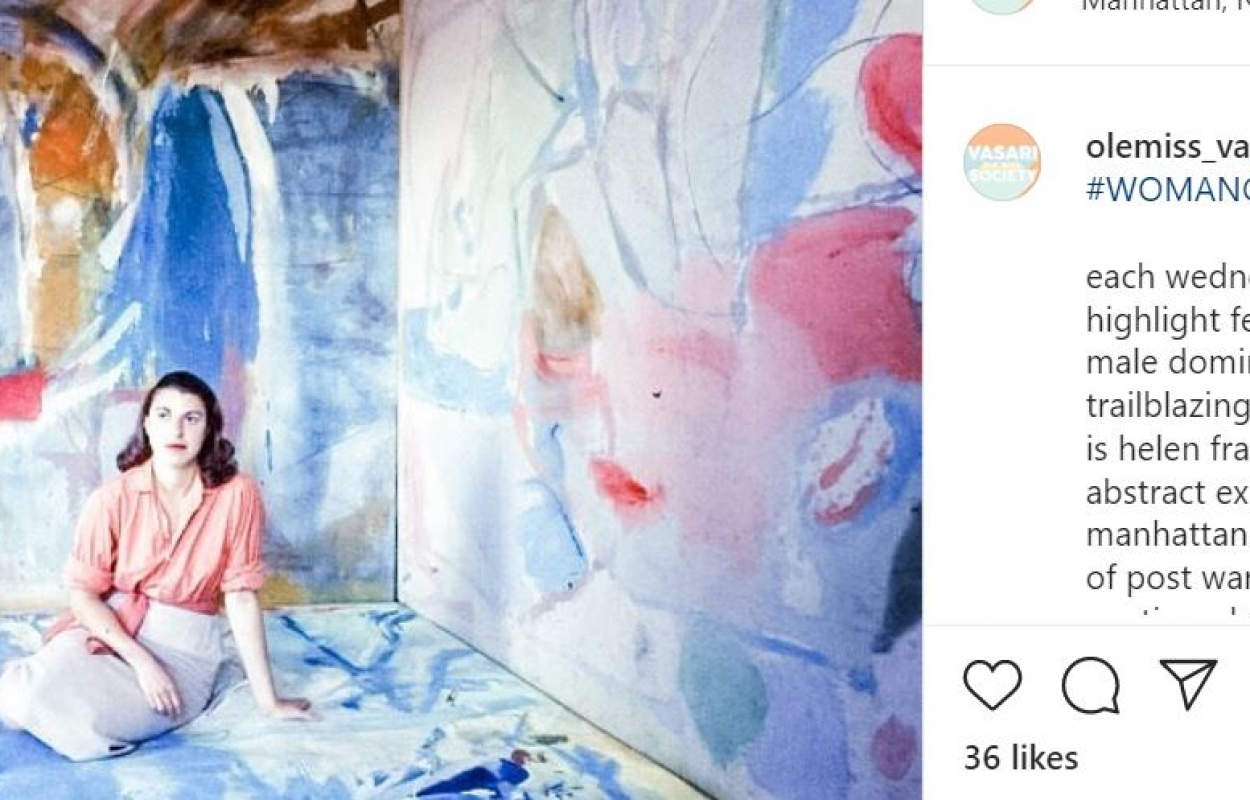 Vasari Society Instagram post featuring artist Helen Frakenthaler for their feature of a woman artist.
