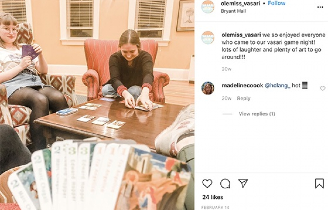 Vasari Society Instagram post featuring students playing card games.