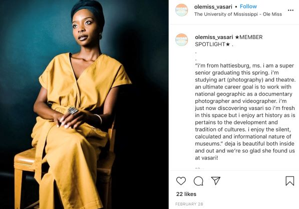 Vasari Society Instagram post featuring an African American woman student who is sitting for a portrait