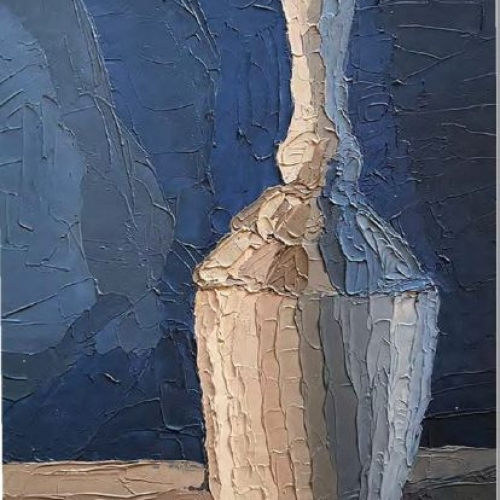 image of vase from a beginning painting class. colors of cream on vase and blue background