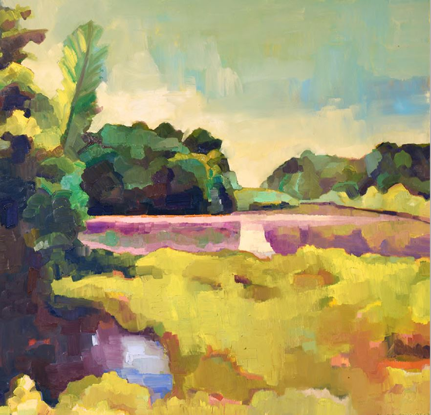 image of a plein air landscape painting of a field with lots of yellows and greens