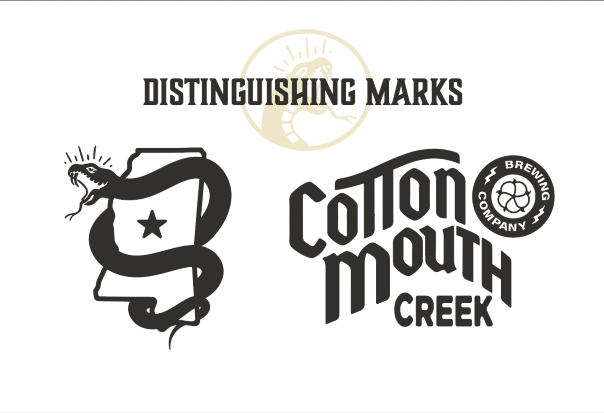 Graphic for Cotton Mouth Creek Brewing Company, featuring a logo of the state of Mississippi wrapped up by a snake