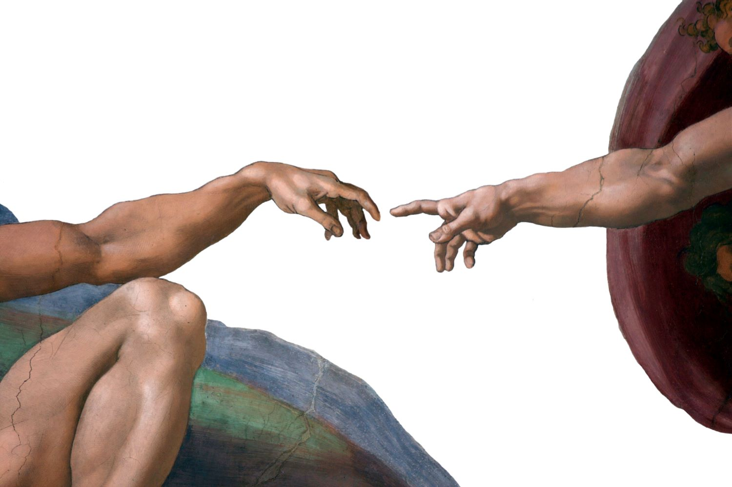 Close-up of the Adam and God's fingertips almost touching, from the painting by Michaelangelo on the Sistine Chapel