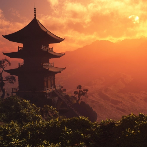 Chinese pagoda in the mountains