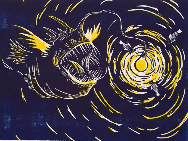 printmaking image of an angler fish in blues, blacks, and yellow
