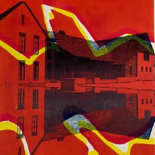 image of a printmaking class project of a house with vibrant red and yellow color